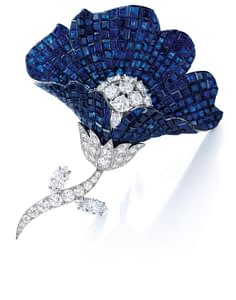 Jewelry auctions autumn 2020 sapphire and diamond brooch