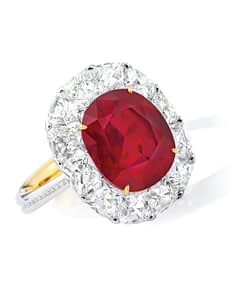 Gemstone auctions pigeon's blood burma ruby ring