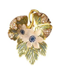 Handmade jewelry vintage Lalique enamel rock crystal and diamond brooch 1910