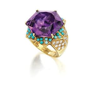 Handmade jewelry vintage Cartier amethyst turquoise and diamond gold ring 1960