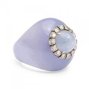 Handmade jewelry vintage Suzanne Belperron star sapphire chalcedony diamond ring