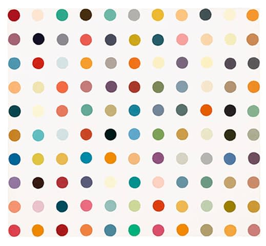 Art dealer in London Damien Hirst Spot painting for sale, household gloss on canvas, signed and dated 1995