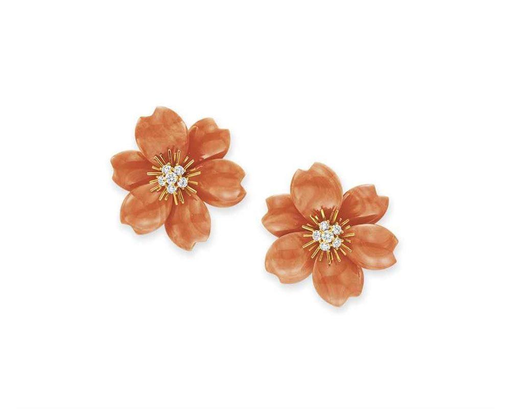 Handmade jewelry vintage Van Cleef & Arpels coral and diamond 'Rose de Noël' ear clips