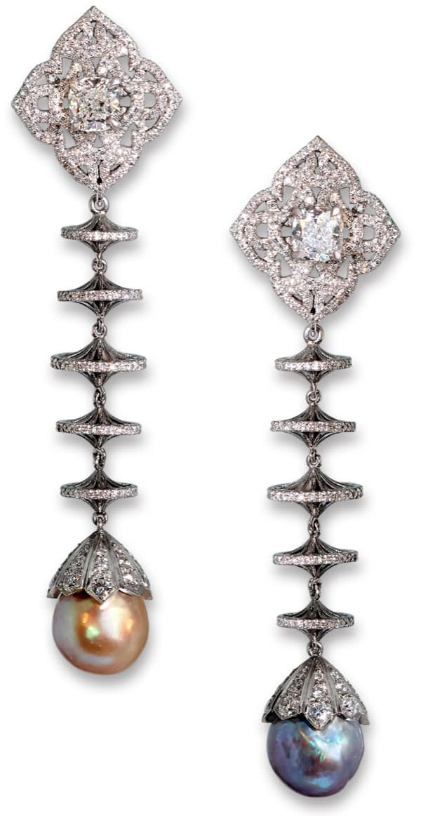 Jewelry creations Natural pearl and diamond drop earrings, 6.16 & 6.60 carat