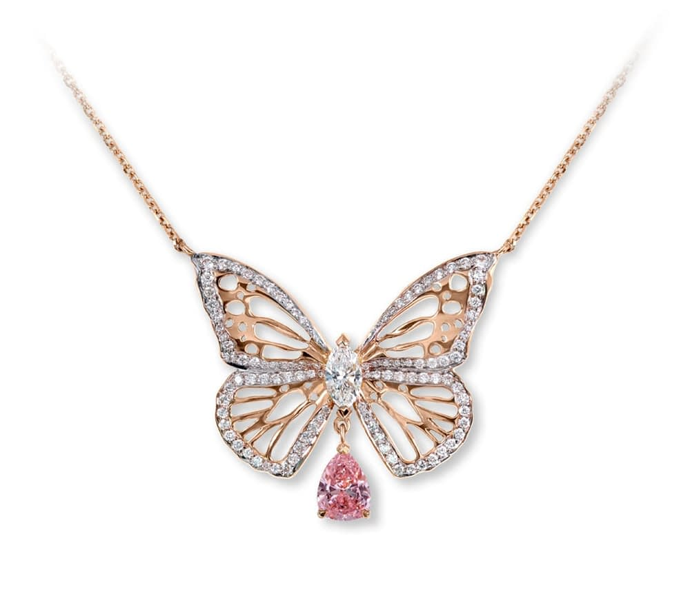 Jewelry creations Pink diamond butterfly necklace
