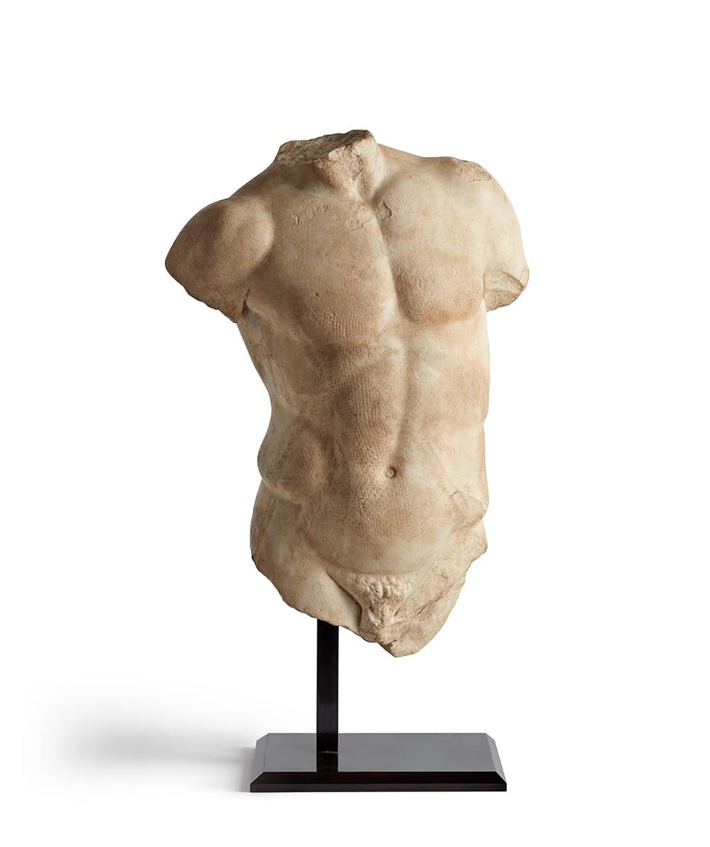 Roman marble torso sculpture, 1st-2nd century AD