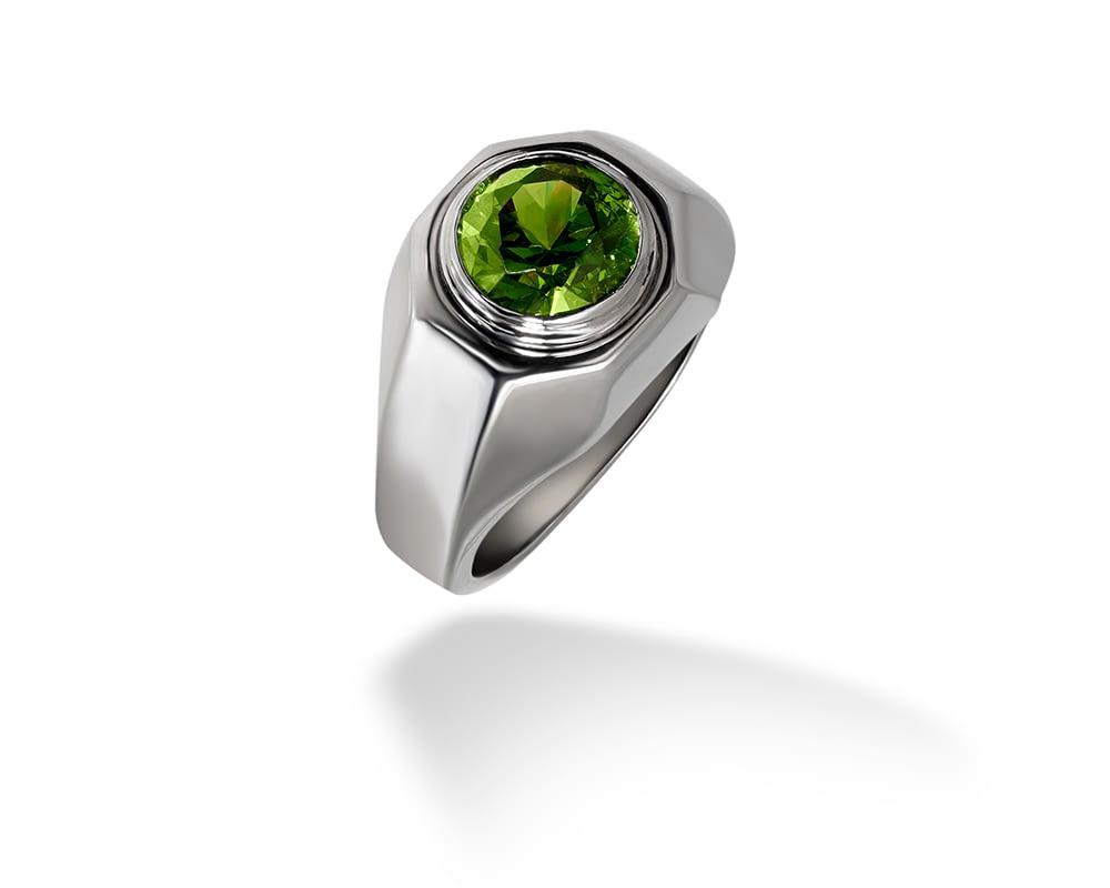 Handmade jewelry vintage Bulgari demantoid garnet ring