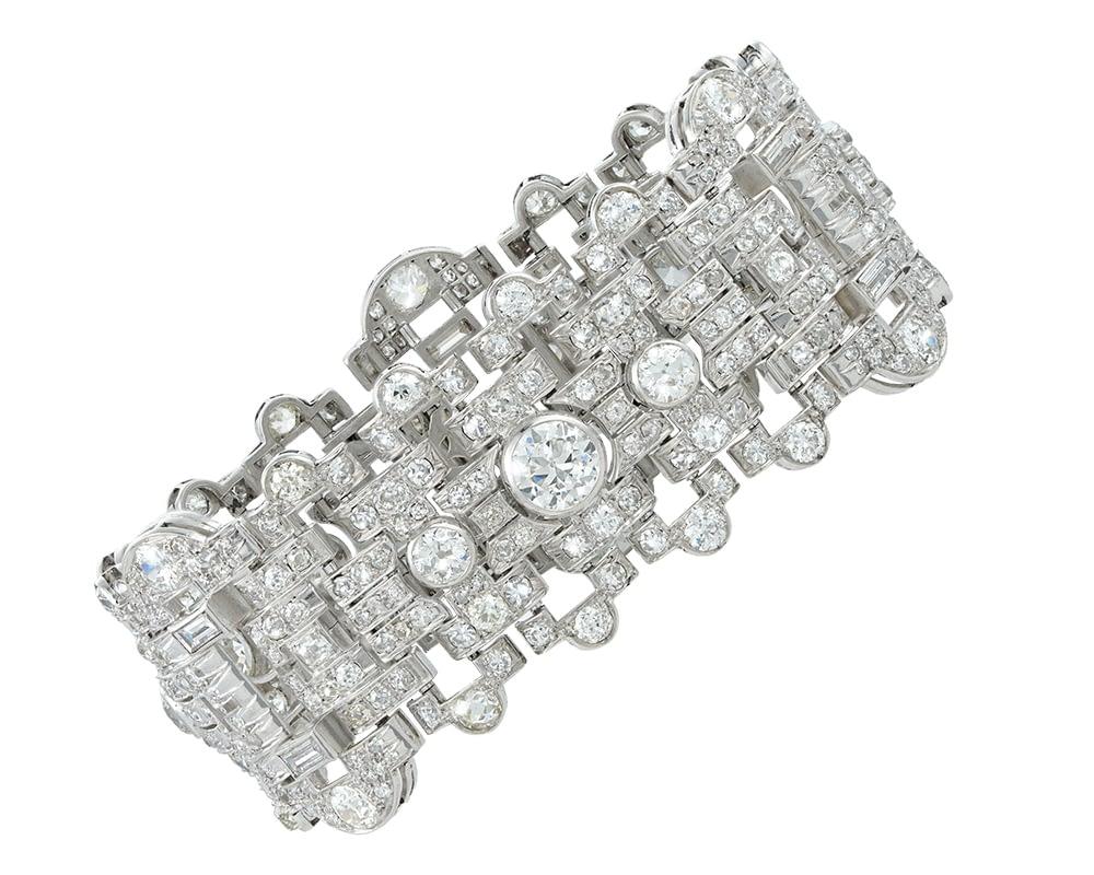 Art Deco Platinum Diamond Bracelet & Vintage Bulgari jewelry
