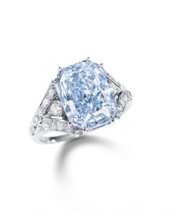 Gemstone auctions intense blue diamond ring