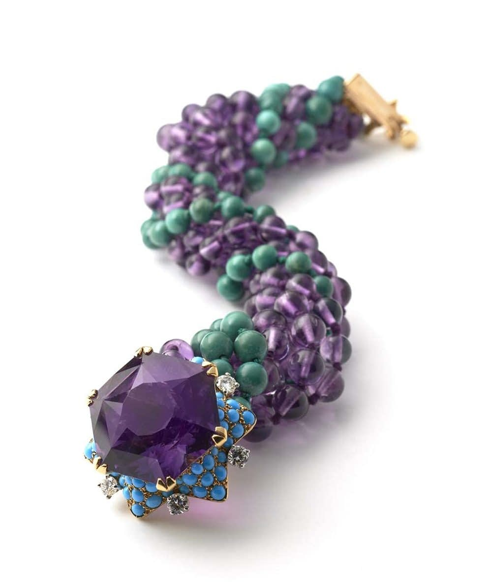 Jewelry and art Cartier amethyst turquoise and aventurine bracelet c.1960