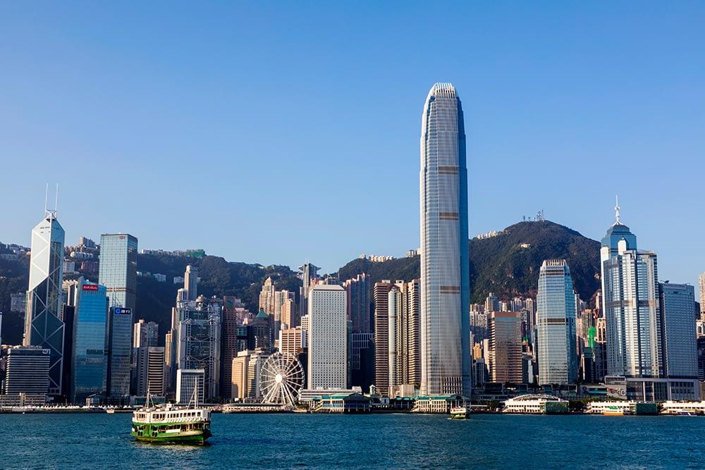 Art dealer in london Hong Kong city skyline