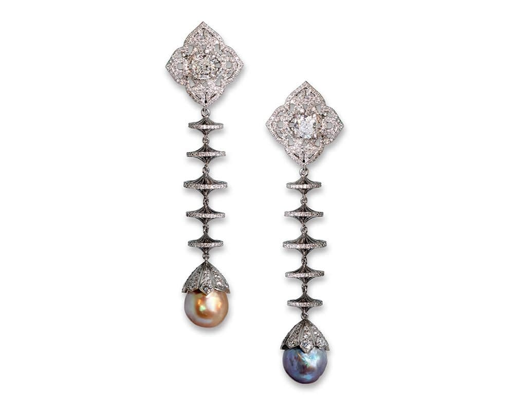 Haute joaillerie collection Natural pearl and diamond drop earrings, 6.16 & 6.60 carat