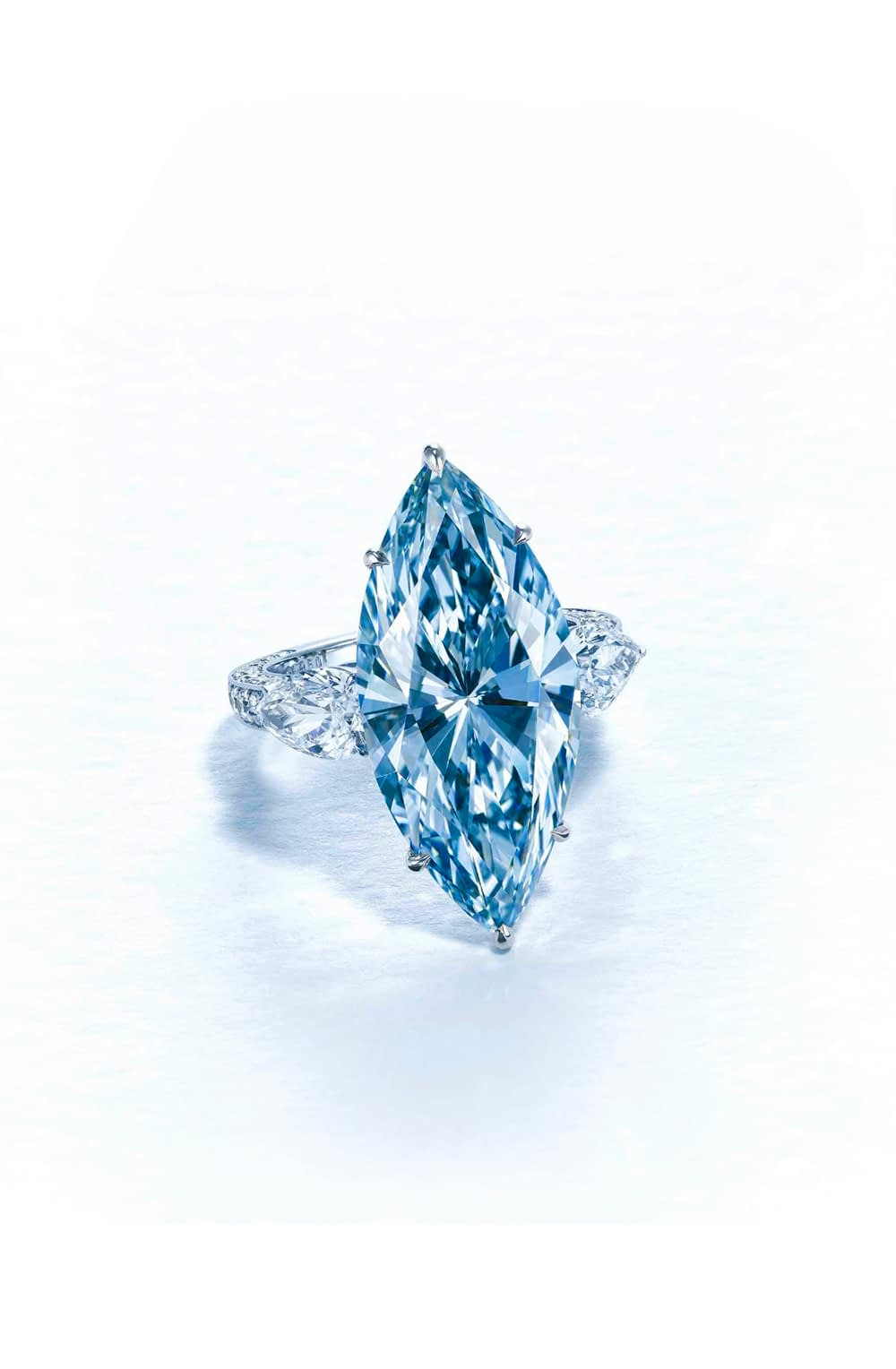 Important jewels fancy vivid blue marquise shape diamond