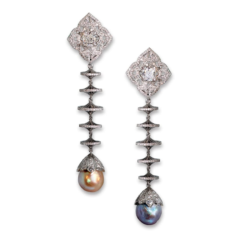Natural pearl and diamond drop earrings, 6.16 & 6.60 carat