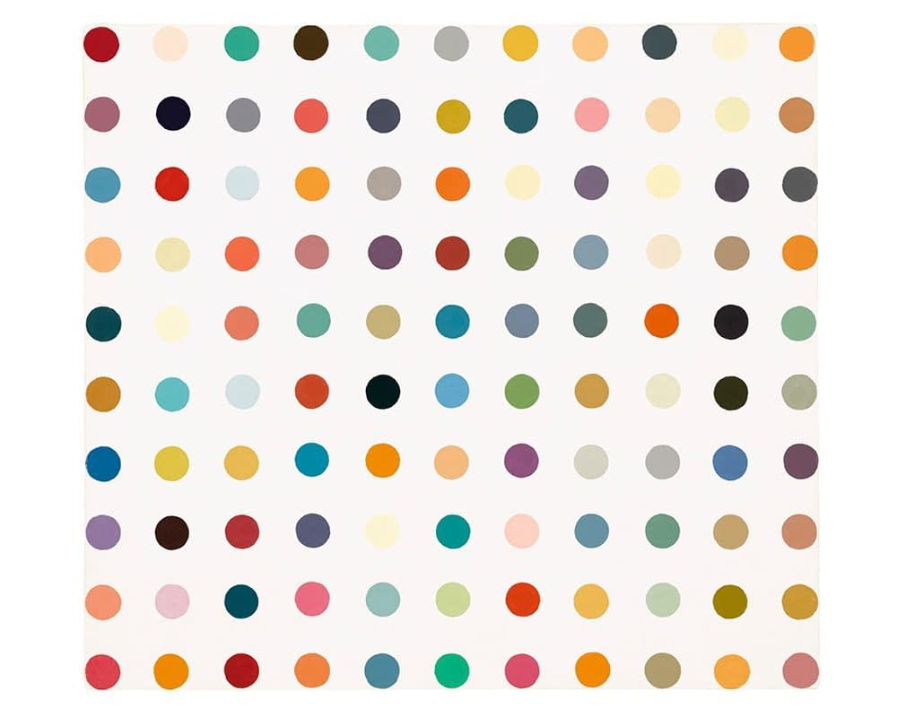 Private art sales Damien Hirst Spot painting for sale, household gloss on canvas, signed and dated 1995