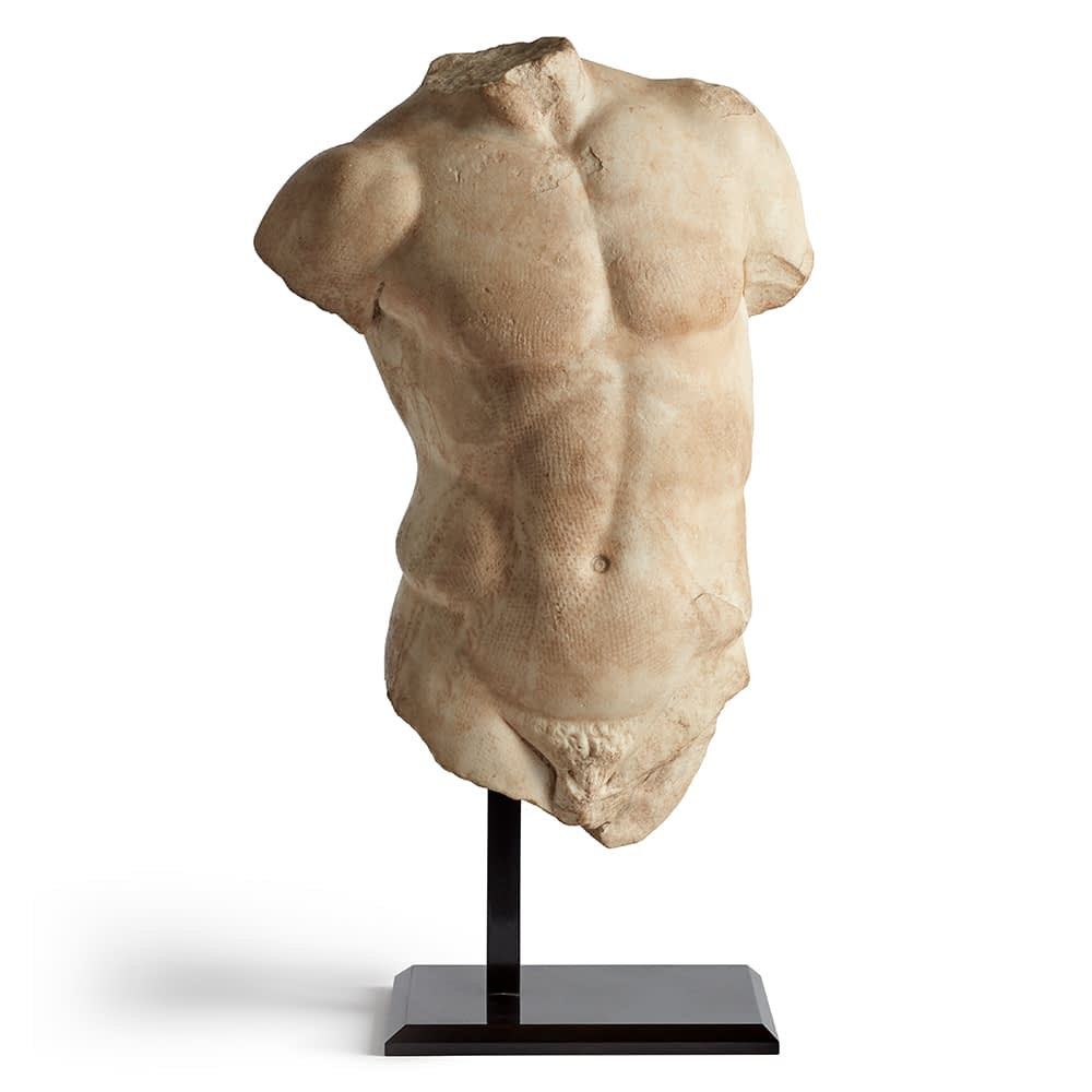 Jewelry and art Roman marble torso sculpture, 1st-2nd century AD